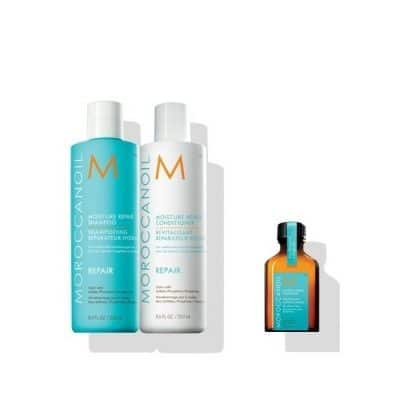 Комплект за суха слаба и увредена коса шампоан и балсам Moroccanoil Repair и арганово масло за всеки тип коса MoroccanoilTreatment