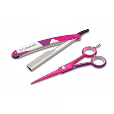 "Комплект ножица и бръснач 3 Claveles 19180 COOL Hairdressing Scissors + Razor COOL 5.5"" розово"