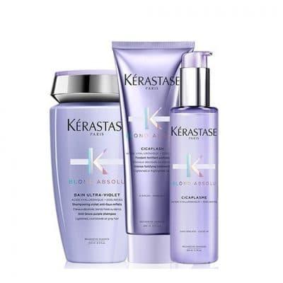 Комплект шампоан грижа и серум за руси коси и кичури Kerastase Blond Absolu за неутрализиране на нежеланите отенъци и термозащита