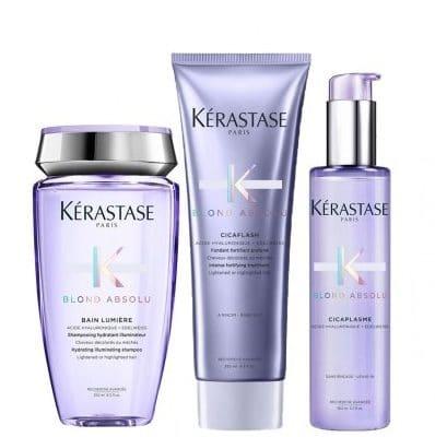 Комплект шампоан грижа и серум за руси коси с топли отенъци Kerastase Blond Absolu за неутрализиране на нежеланите отенъци и термозащита