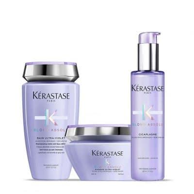 Комплект шампоан маска и серум за екстремно руси коси Kerastase Blond Absolu за неутрализиране на нежеланите топли отенъци и термозащита