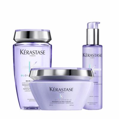 Комплект шампоан маска и серум за руси коси с балеажи Kerastase Blond Absolu за неутрализиране на нежеланите отенъци и термозащита