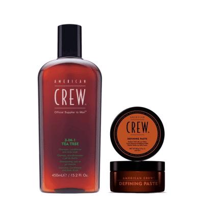 Комплект за мъже за коса и тяло American Crew 3 in 1 Tea Tree § Defining Paste