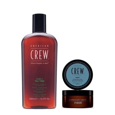 Комплект за мъже за коса и тяло American Crew 3 in 1 Tea Tree § Fiber