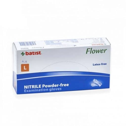 Ръкавици нитрил сини L размер Batist Flowers 100 бр