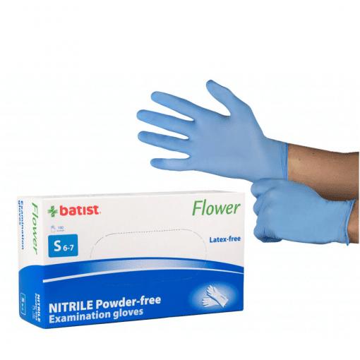 Ръкавици нитрил сини S размер Batist 100 бр